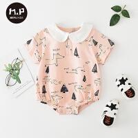 男女宝宝外出连体衣可爱三角哈衣夏季新款婴儿服薄款衣服
