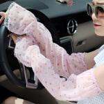 内慧 女 防晒手套夏天季袖套骑车开车手套薄长款女士防紫外线蕾丝手臂套1005