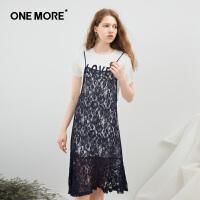 ONE MORE2018夏装新款蕾丝拼接连衣裙女温柔裙套装裙两件套裙子