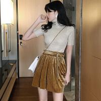 新品女装时尚高领烫钻修身短袖上衣+丝绒百褶高腰系带半身裙套装