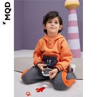 MQD儿童连帽加厚卫衣19冬半高领立体口袋绣花宝宝加绒上衣