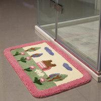惠多簇绒浴室地垫 门垫卧室地毯进门门口门厅浴室吸水脚垫防滑垫 粉红色 屋尔美