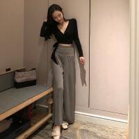休闲套装女春季新款气质V领修身系带长袖T恤+时尚高腰阔腿长裤子