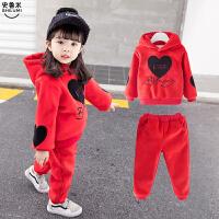 1-3-4周岁女宝宝洋气童装套装加绒加厚运动秋冬装两件套