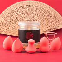 5个1盒 美妆蛋 不吃粉干湿两用粉扑化妆工具 葫芦海棉彩妆架子气垫