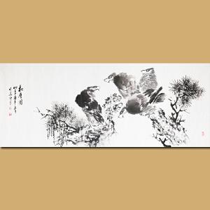 """""""苦禅遗风""""安徽省美术家协会会员 著名水墨画家张华 先生作品――松鹰图"""
