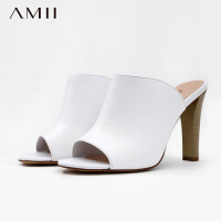 AMII[极简主义]春新女大码露趾牛皮高跟单鞋11670022