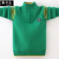 儿童拉链立领打底衫男童加绒加厚毛衣中大童套头针织衫