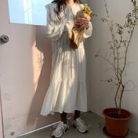 早春韩版减龄气质娃娃领长袖雪纺连衣裙女宽松显瘦荷叶边过膝长裙