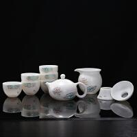 【好店】羊脂玉瓷茶具套装手绘描金家用白瓷茶具陶瓷功夫茶具茶杯茶壶整套 西施(高雅玉兰)10头套装 手绘描金
