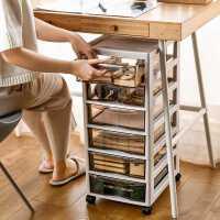 办公桌面收纳盒抽屉式收纳柜桌下a4文件置物架文具用品储物整理箱