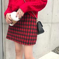 裙子女新款韩版秋冬季毛呢高腰短裙百搭显瘦格子时尚chic半身裙潮