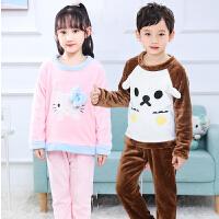 秋冬季儿童睡衣男童女童宝宝家居服加厚套装男孩小孩珊瑚绒
