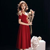 敬酒服新娘旗袍2018新款秋冬季中长款红色中式结婚礼服中袖显瘦女 酒红色