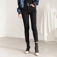 冬裤女宛宛高端必入新款三粒扣高腰黑色加厚加绒版铅笔牛仔裤 XS 25码