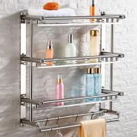 。毛巾架免打孔浴巾架不锈钢浴室毛巾挂架厕所挂件卫生间壁挂置。