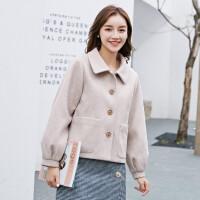 芊�短款毛呢外套女2020秋冬季新款杏色�L袖短外套搭配裙子的上衣11254