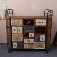 复古棕色复古铁艺框架实木柜多抽式时尚家居边柜收纳整理柜