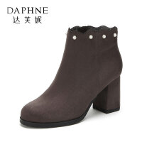 Daphne/达芙妮杜拉拉通勤风珍珠花边短靴