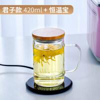 【优选】玻璃茶杯带把茶水分离杯办公男女花茶杯过滤泡茶杯子家用带盖水杯