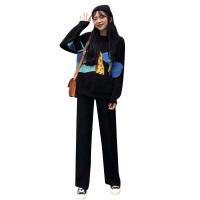 韩版时尚休闲套装秋季长袖卡通针织衫毛衣+半身裙+阔腿裤三件套女 均码