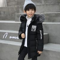 男童棉衣中长款童装冬装外套儿童中大童棉袄男 黑色 110码适合身高100-110cm