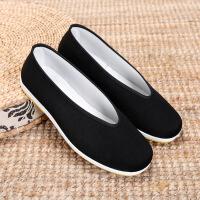 老北京布鞋男款 圆口中老年老头鞋休闲鞋 透气男士黑布鞋