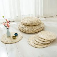 日式榻榻米坐垫飘窗打坐茶道蒲草垫子玉米皮草编蒲团圆形凳子加厚 蒲团