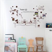可移除墙贴小熊书架儿童房床头幼儿园布置可爱卡通背景墙壁贴纸画 小熊书架 特大