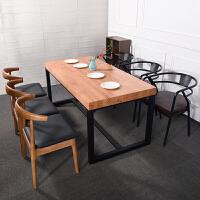 【品牌特惠】实木餐桌长方形吃饭桌子北欧风格现代简约咖啡厅餐厅铁艺桌椅组合