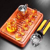 唐丰花梨实木茶盘蓄水托盘日式家用玻璃过滤小套组功夫透明泡茶壶