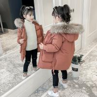 女童棉衣外套冬装新款韩版女孩棉袄加厚中长款儿童潮 焦糖色 110建议身高105左右
