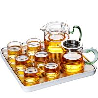唐丰日式透明玻璃茶具套装家用功夫茶杯简约办公室用茶壶小套茶盘
