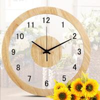 挂钟客厅个性创意时尚现代简约钟表石英钟圆形实木北欧静音时钟情人节礼物 12英寸