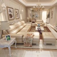 【新品热卖】欧式真皮沙发组合头层牛皮简欧客厅整装小户型转角套装 +卧 组合