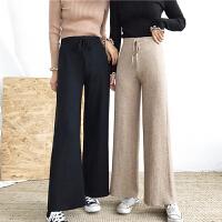 秋冬女装新款休闲宽松显瘦黑色针织阔腿裤时尚高腰系带直筒长裤子