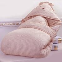 宝宝睡袋 防踢被婴儿抱被春秋 宝宝抱毯夏新生儿彩棉面料可水洗棉花包被wk-49 天然咖 80*80