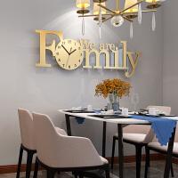 简约现代创意时尚钟表挂钟客厅装饰个性大气新款北欧式潮流石英钟 加大香槟色 100*36cm+8个相框