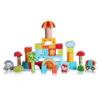 费雪(Fisher Price) 三合一积木组合120粒 木制拼装婴儿儿童玩具1-2-3-6周岁