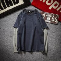 秋装潮牌假两件长袖T恤男装加肥加大码日系打底衫韩版胖子上衣服
