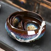 唐丰窑变茶洗陶瓷鎏银游龙水盂洗茶杯的器皿天目釉笔洗简约大号