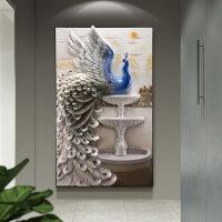 玄关装饰画现代简约3D立体浮雕竖版走廊挂画过道孔雀竖版欧式壁画 82*134 顺丰 送货上门 无需安装