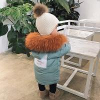 婴童装女童宝宝羽绒服中长款白鸭绒婴儿大毛领双面穿羽绒服 图色