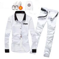 春秋季韩版男士长袖牛仔衬衫长裤套装潮流修身休闲帅气衬衣服外套