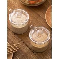 塑料带勺调味罐厨房透明调料罐 家用调料盒味精盐罐调味盒