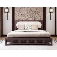 【优选】新中式实木双人床欧式家具婚床主卧1.8米2.0米现代简约软靠床 1800mm*2000mm 框架结构