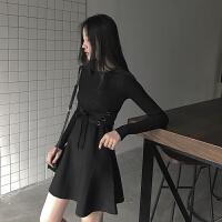 2018秋装新款女黑色紧身连衣裙秋冬长袖打底中长款针织小黑裙 黑色