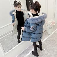 2019新款洋气韩版女孩长款加厚棉袄女童冬装棉衣外套