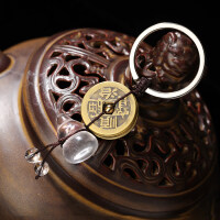 纯铜葫芦五帝钱钥匙扣挂件随身携带平安护身仿古铜钱古币汽车挂饰