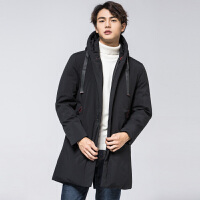 (雪中飞羽绒服年终大促,遇见更美的你)雪中飞男装2019秋冬新款韩版时尚个性印花宽松加厚中长款羽绒服男